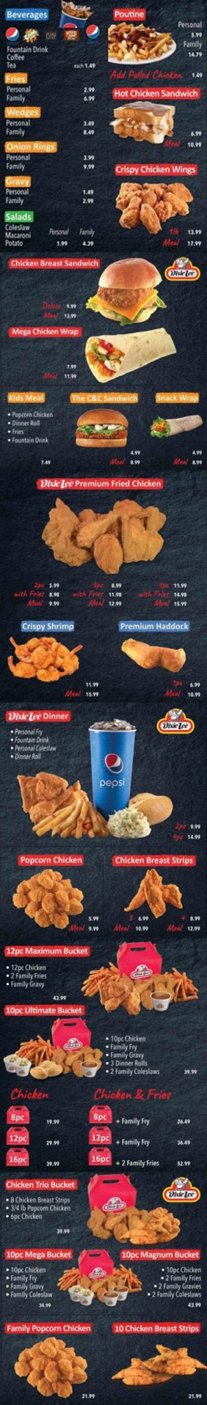 Dixie Lee Fried Chicken Menu